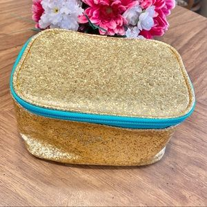 GOLD GLITTER sparkle makeup bag with teal lining